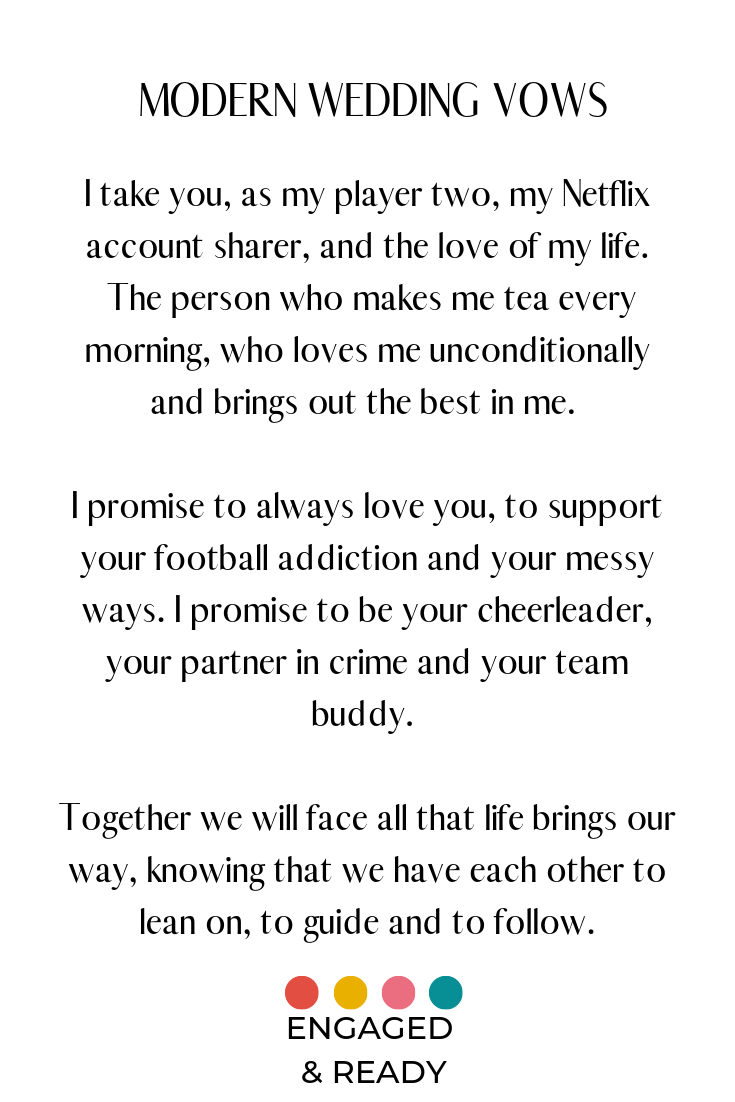 30 Awesome Wedding Vows Engaged And Ready Modern Wedding Vows Funny Wedding Vows Wedding Modern
