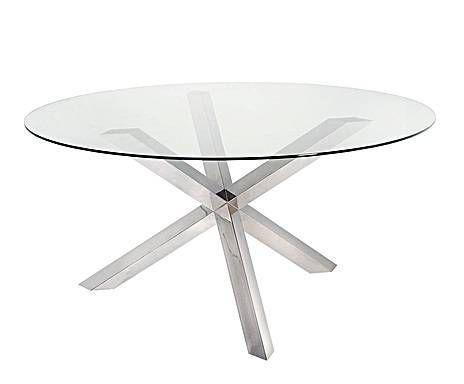 RUSTIC MODERN: Mesa de comedor de acero inoxidable y cristal redonda ...