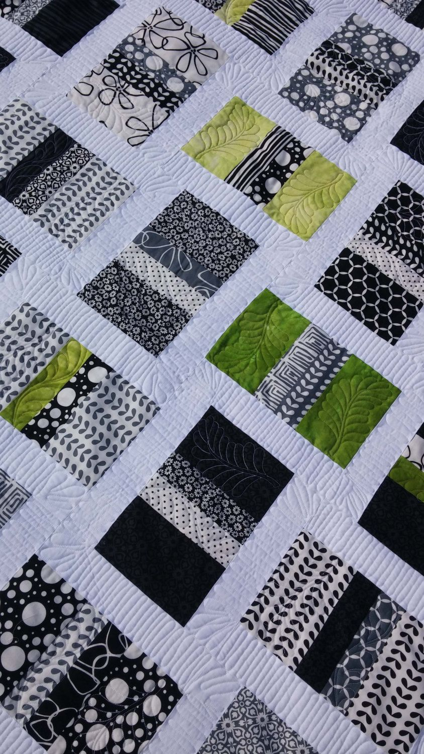 Handmade King quilt in Shades of Black by Me and My Sister Designs with hand dyed lime green fabrics - contemporary by morethanjustquilts on Etsy