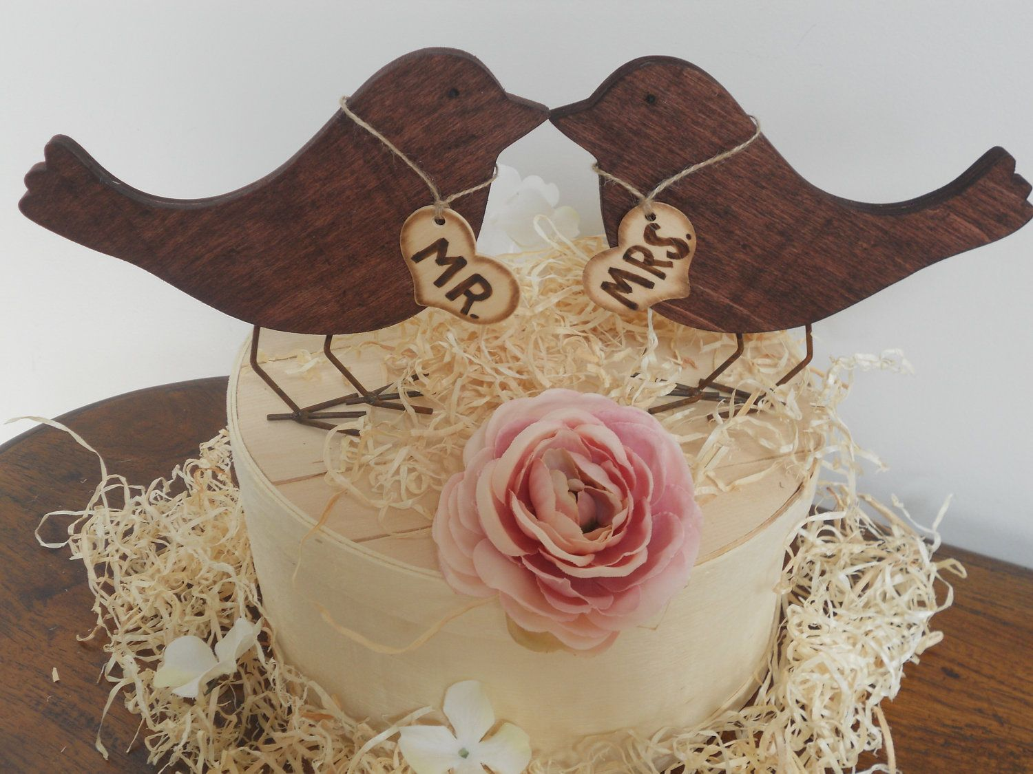 Wedding cake topper wooden love birds rustic wedding cake topper