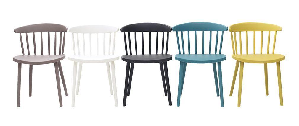 Chaises Design A Barreaux Bleu Canard Interieur Exterieur Lot De 2 Holly Miliboo Chaise Design Design Bleu Canard