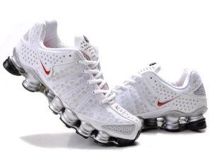 Mens Nike Shox TL3 White Silver Red-$76.25