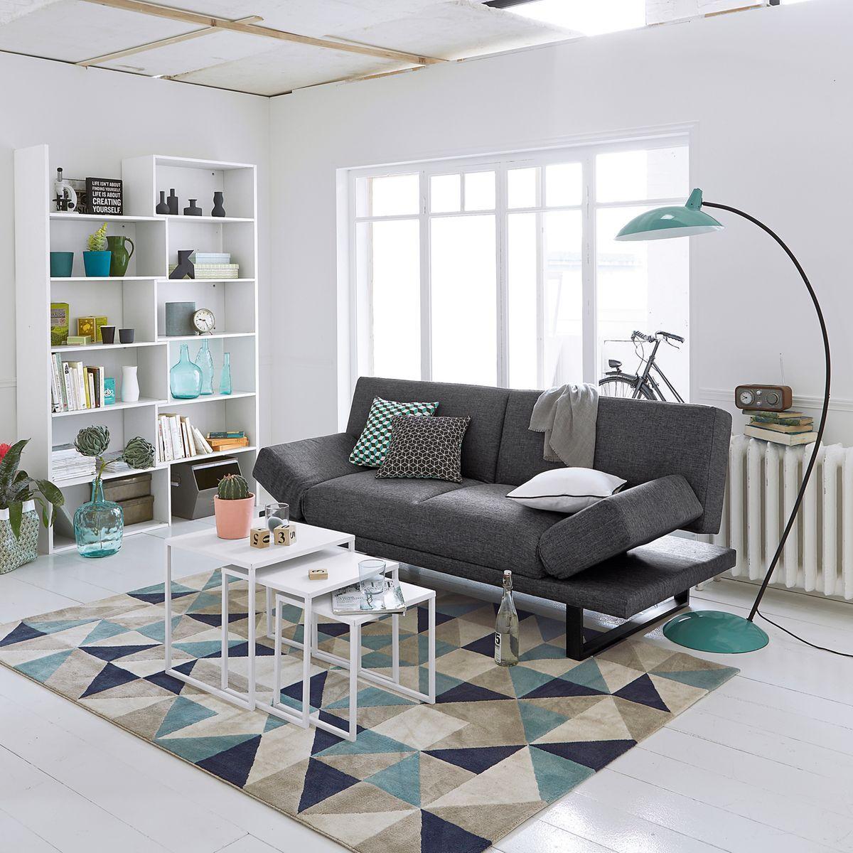 tapis elga imprimé gris/bleu la redoute interieurs | la redoute