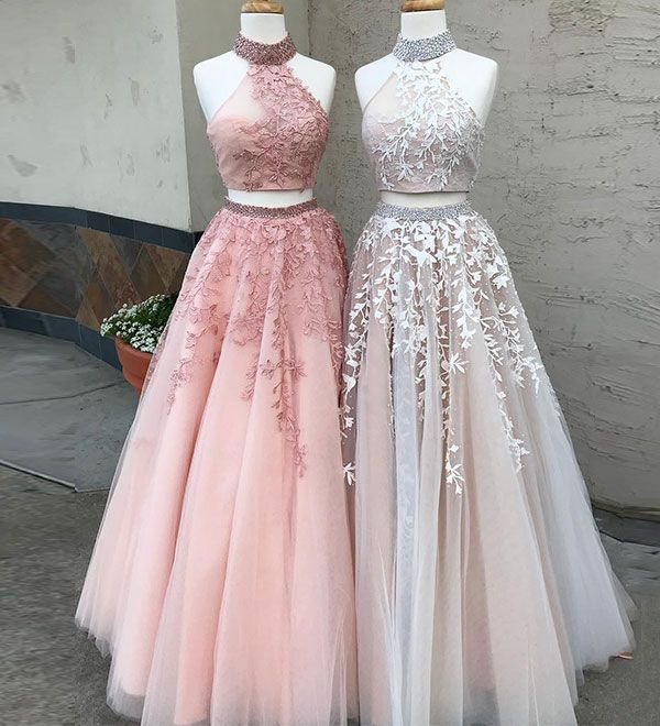 Two piece lace tulle long prom dress, lace evening
