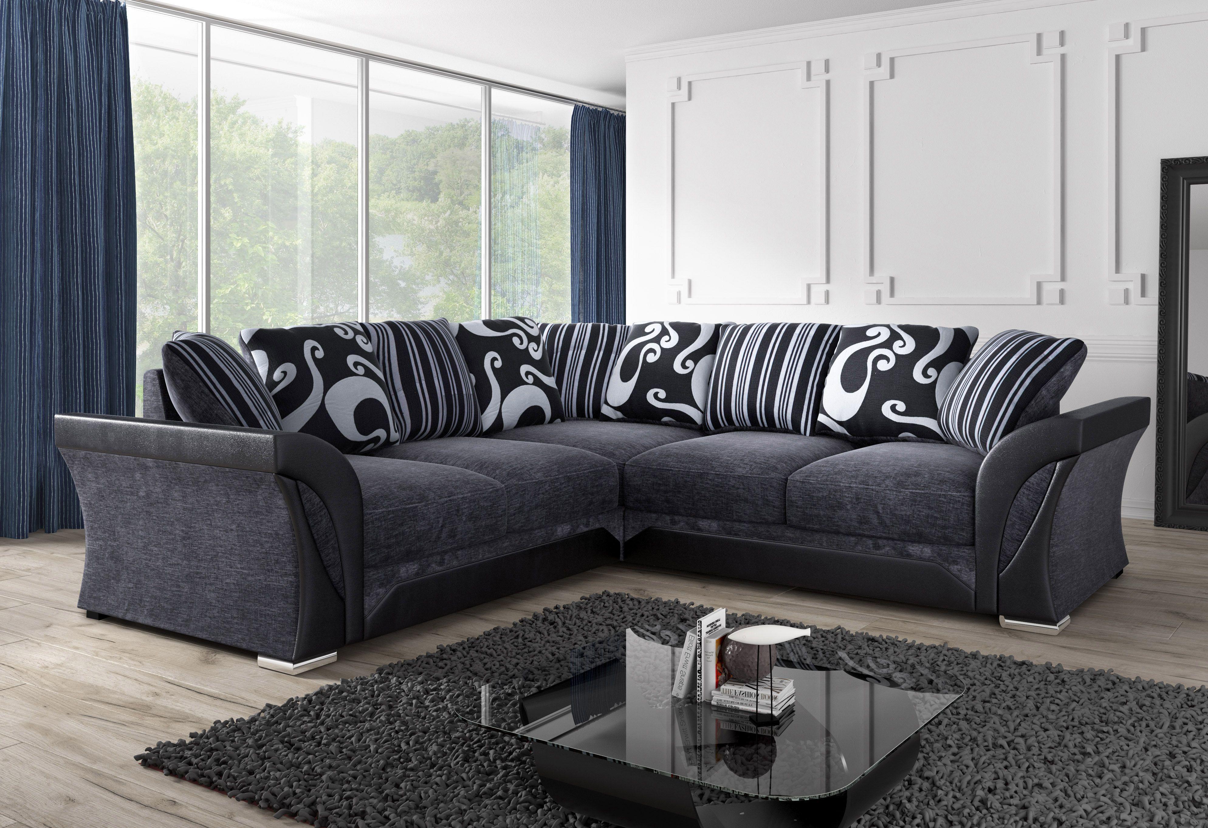 Shannon 2c2 Corner Sofa Grey Black 499 Black Corner Sofa Leather Corner Sofa Black And Grey Corner Sofa