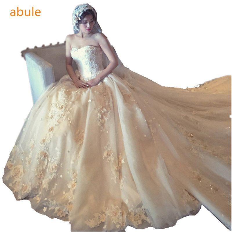abule 2017 Luxurious Long train wedding dress Flower lace up High-quality vestido de noiva Custom production all sizes  #Affiliate