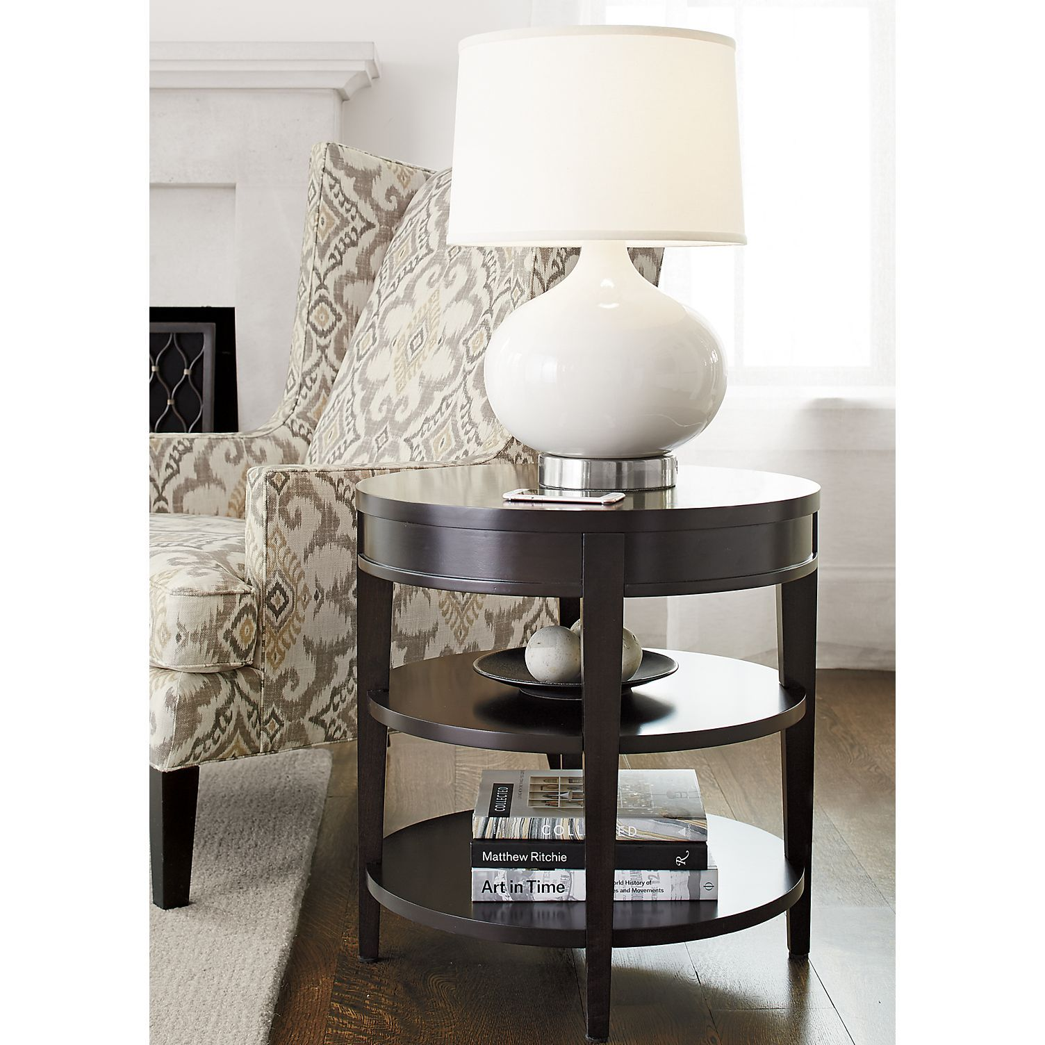 Shop colette round side table with drawer designed by blake tovin the colette side table is a crate and barrel exclusive