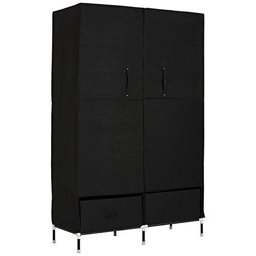 WOLTU Portable Clothes Closet Wardrobe With 2 Drawer Clothes Storage With  Heavy Duty Doors Cloth Organizer