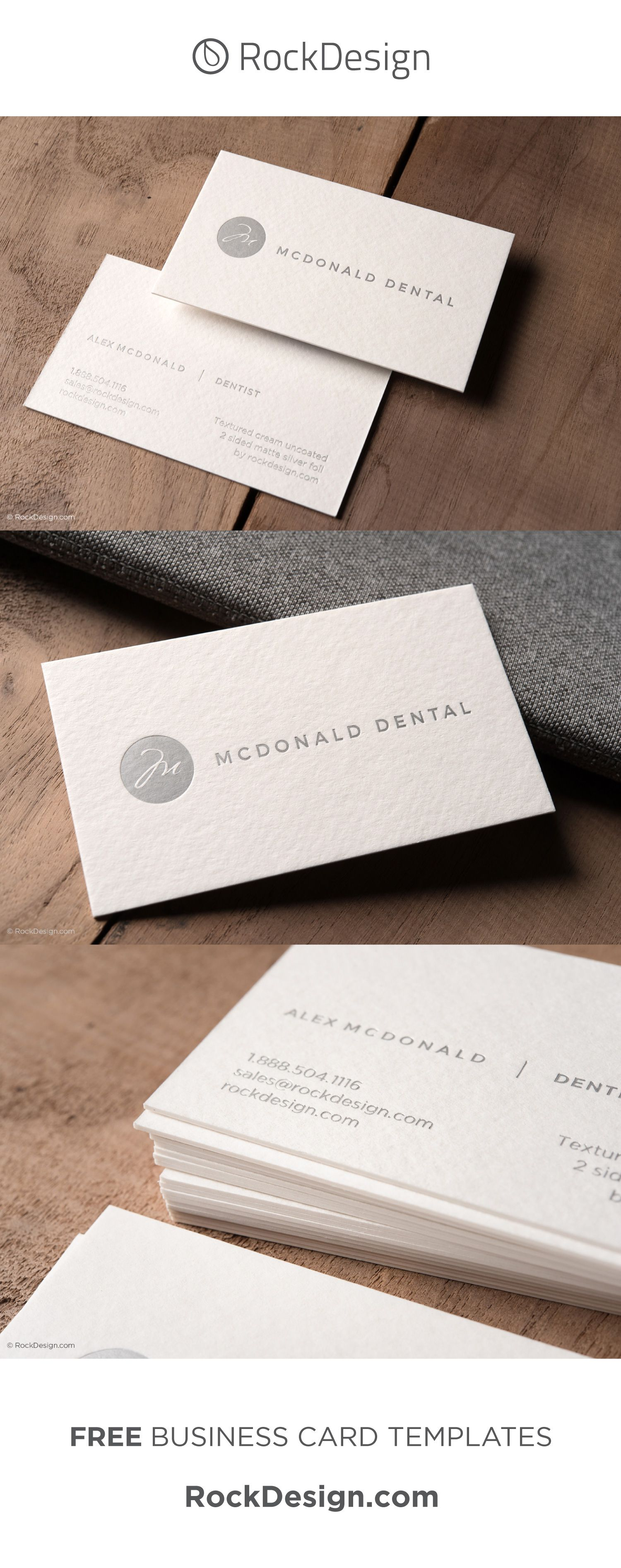 Modern Minimalist Textured Cream Business Card With Silver Foil Mcdonald Dental Dental Business Cards Minimalist Business Cards Cool Business Cards