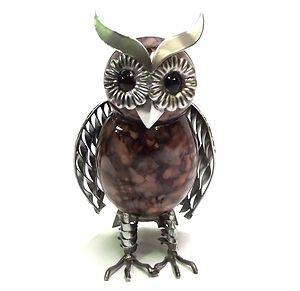 OWL Ornament Statue Metal Bird Garden Sculpture 19cm Iron ART Brown | EBay