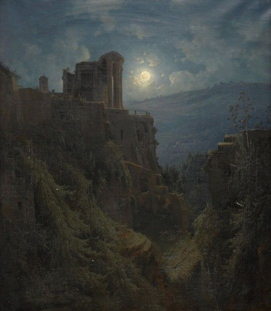 Italienskt ruinlandskap i månsken (1850 / Oil on canvas) - Joseph Magnus Stäck