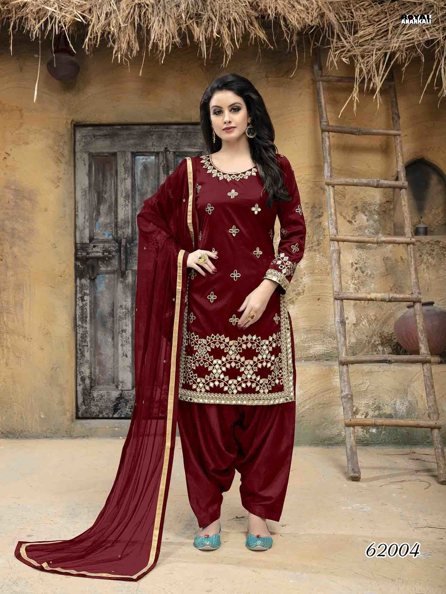 47bc589a280 Glamorous Red Color Taffeta Silk Salwar Suit With Mirror Work ...