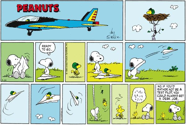 This strip was published on March 29, 1998. Snoopy and Woodstock.