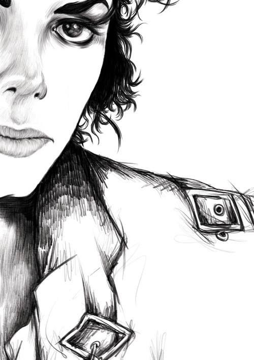 Michael Jackson Bad Drawing Foto Arte Preto E Branco Fotos