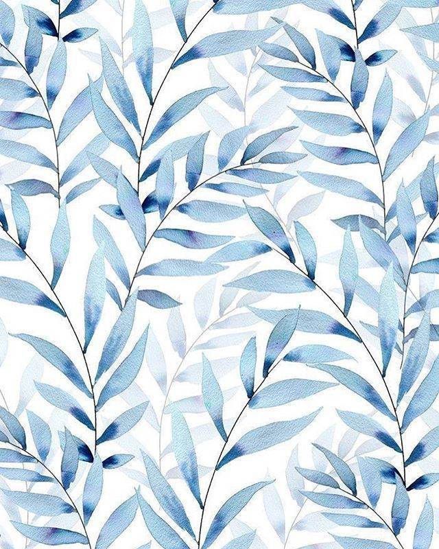 Blue Leaves Illustrate Watercolor Wallpaper Blue Background Wallpapers Phone Wallpaper Images Pattern Wallpaper Blue and white wallpaper for phone