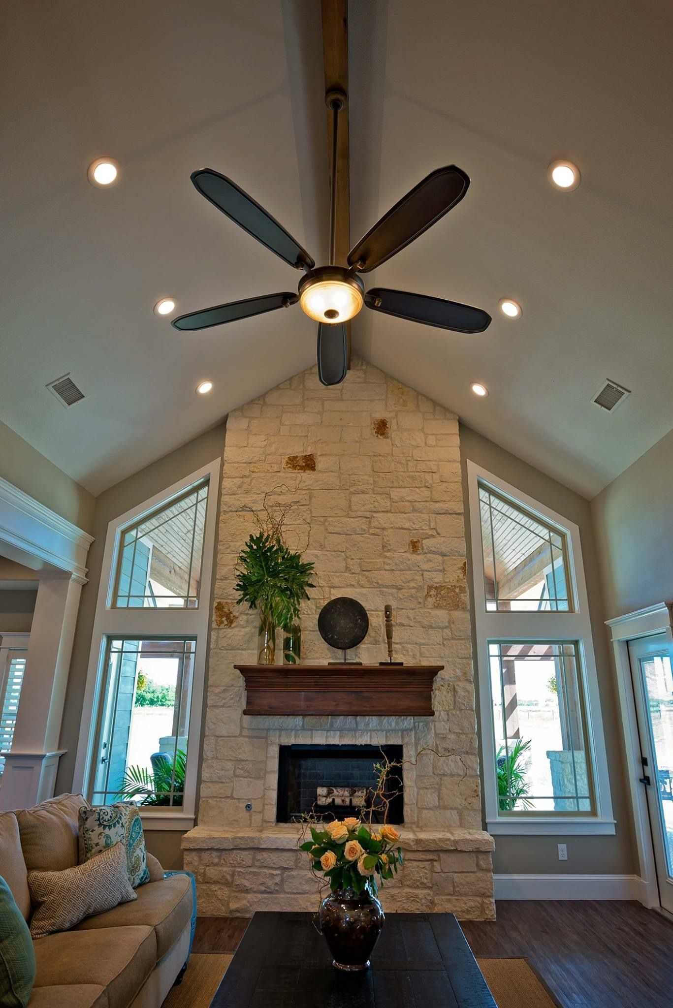 High Ceilings With Recessed Lighting In Living Room Tall