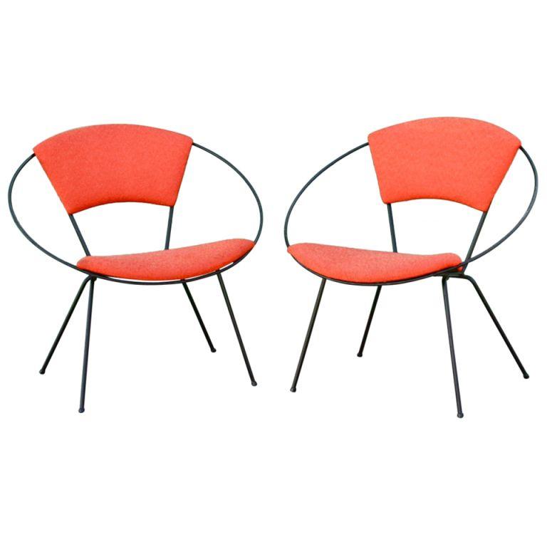 Mid Century Modern · Pair Of Iron Circle Chairs ...