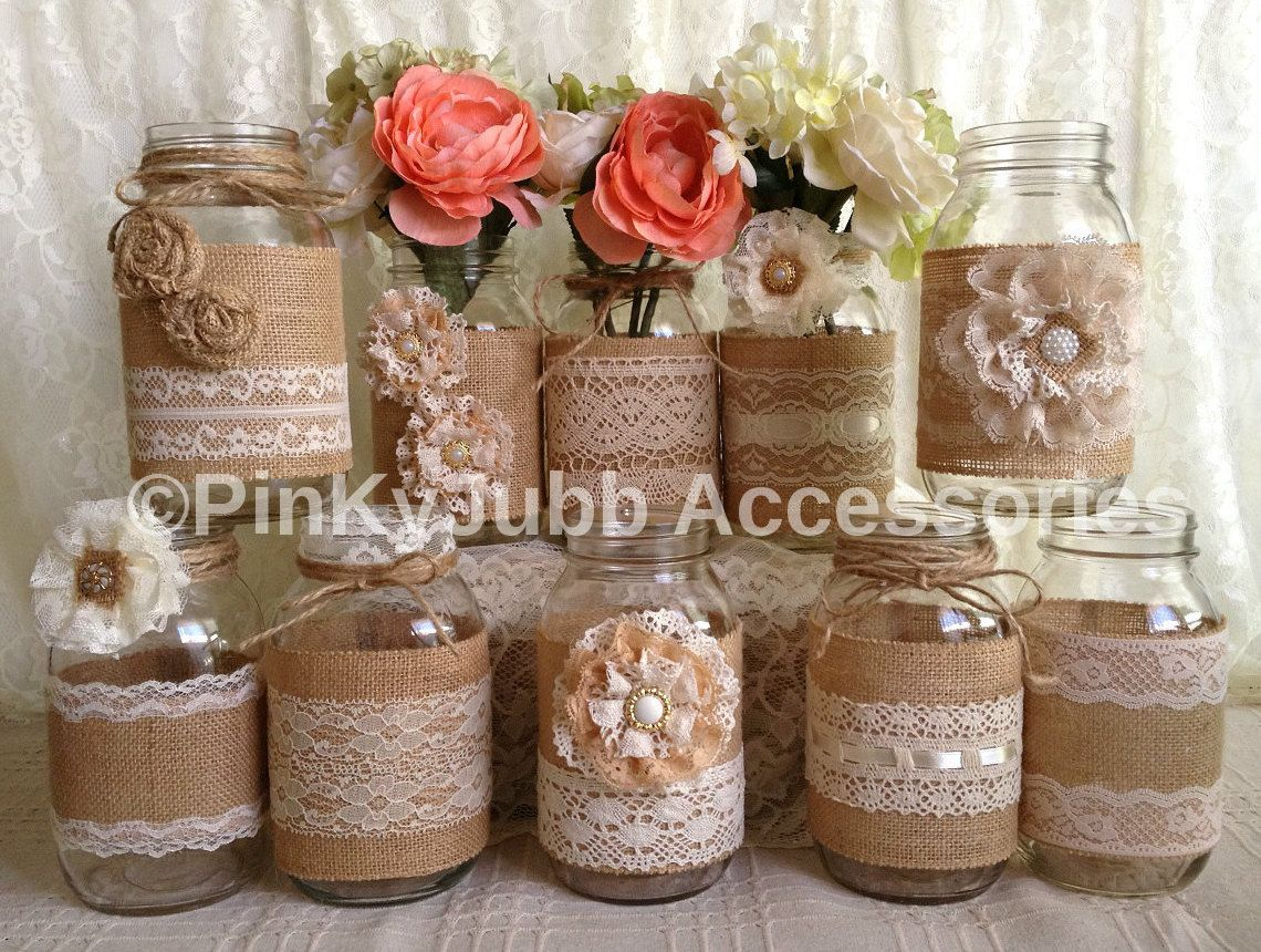 X rustic burlap and lace covered mason jar vases wedding