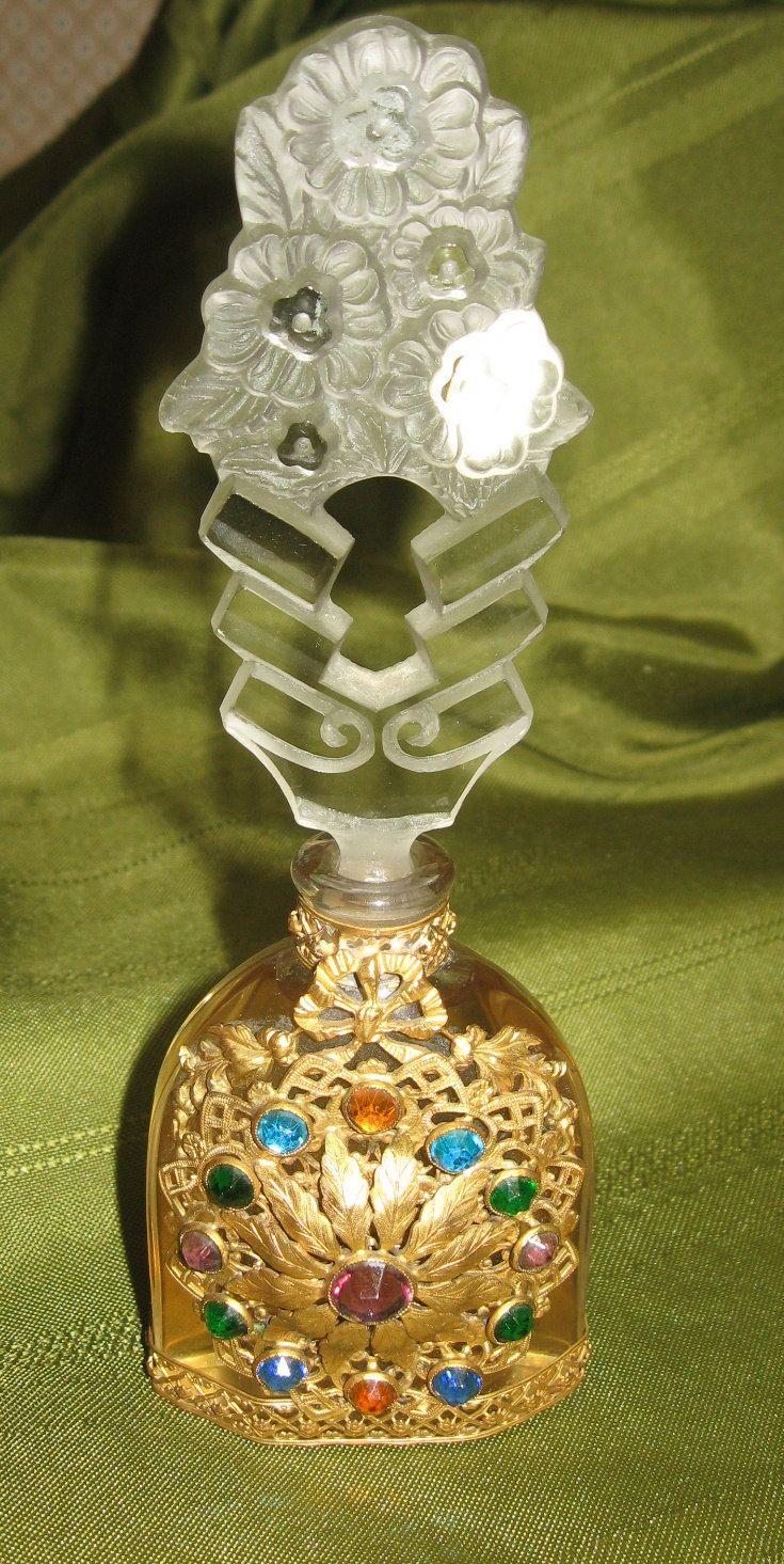 Czech Ornate Jeweled Filigree Perfume Bottle Vintage 1920-30s Era