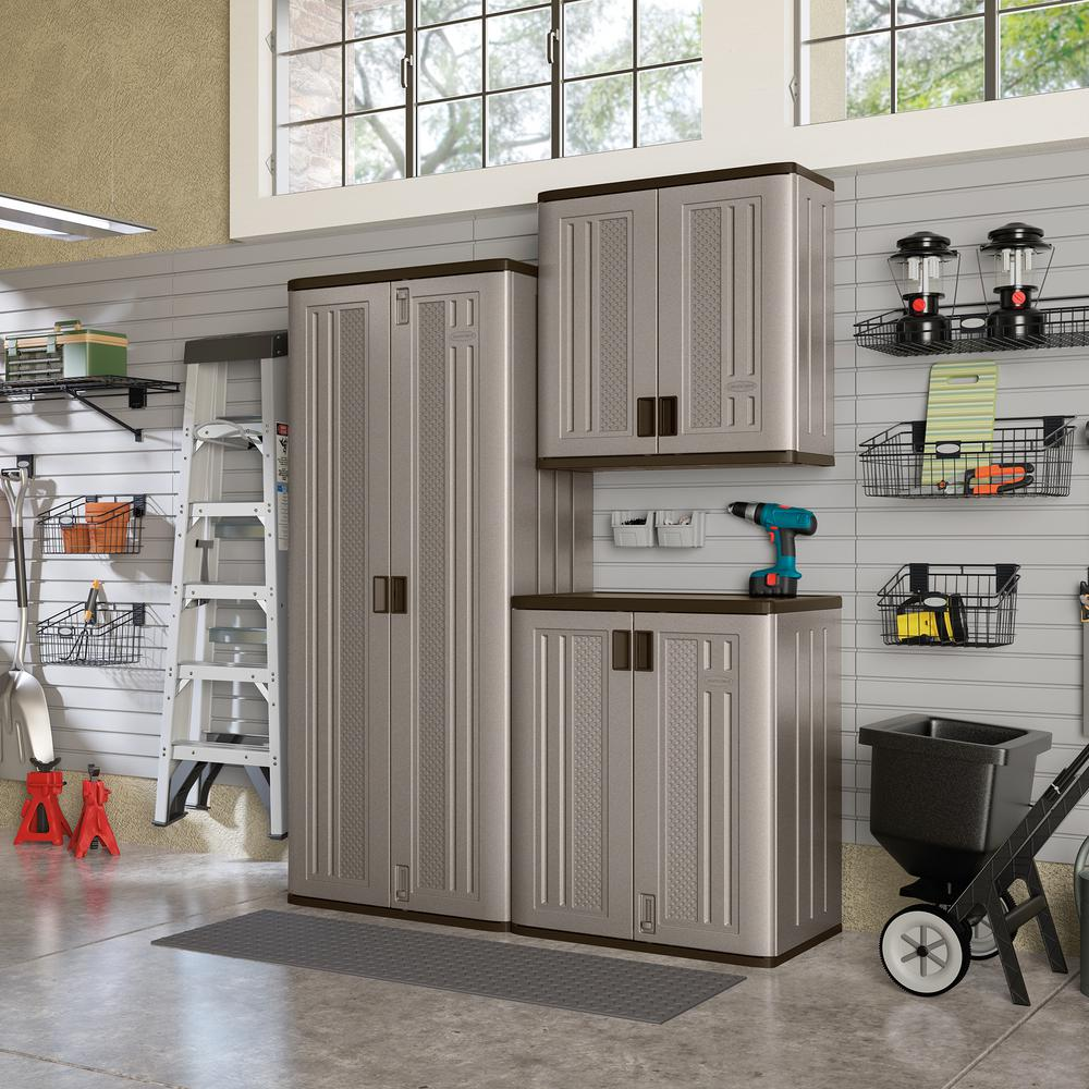 Suncast 72 In X 90 In X 20 25 In Resin Garage Cabinet Set In