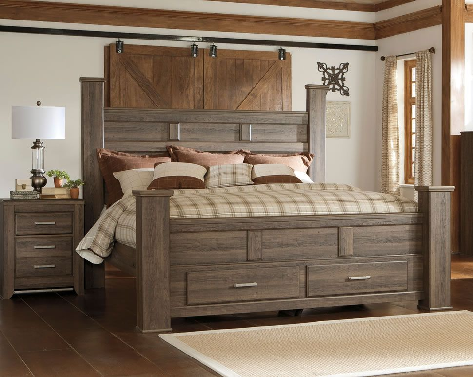 Poster Bed With Storage Footboard King Size Shown Available In