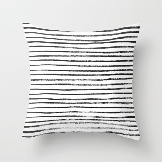 Black Dry Ink Brush Stripe Line Pattern On White Organic Free