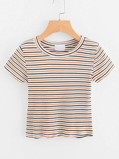 3ae401d3fdf9d blue yellow white striped shirt   ROMWE.com