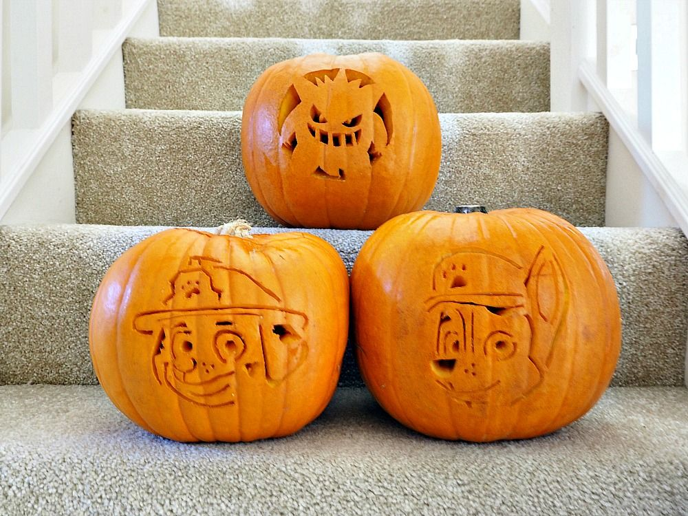 Carving Gengar Pokemon & Paw Patrol Pumpkins - Gengar pokemon, Paw patrol, Pumpkin, Pokemon pumpkin, Gengar, Carving - Each year, we carve our favorite tv characters using an EASY METHOD  Here is this year's reveal of Paw Patrol Pumpkins and Gengar Pokemon Pumpkin