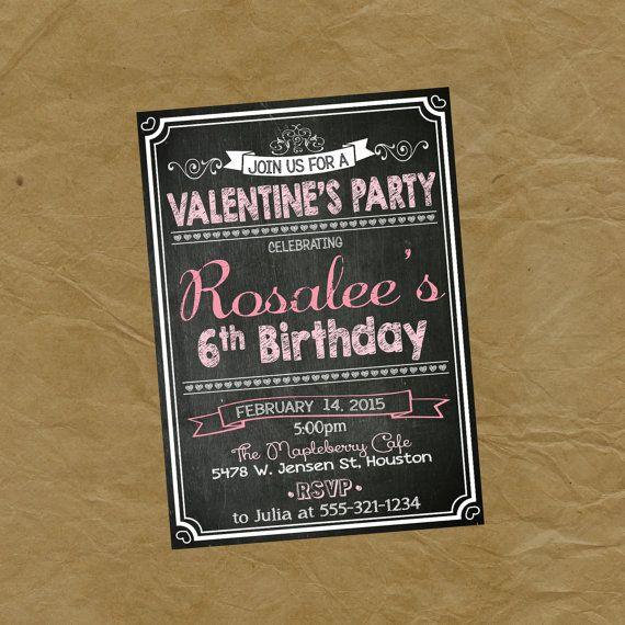valentines birthday party invitation  chalkboard hearts