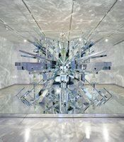 """David Altmejd's """"The Eye,"""" 2008. Wood and mirror; 129 1/2 x 216 1/2 x 144 1/2 inches overall. Installation at Gallery Met at the Metropolitan Opera House, New York, NY, October 13, 2008-January 30, 2009."""