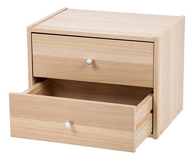 Amazon Com Iris Modular Wood Stacking Storage Box With Drawers Light Brown Storage Organization Stacking Storage Boxes Drawers Storage Drawers