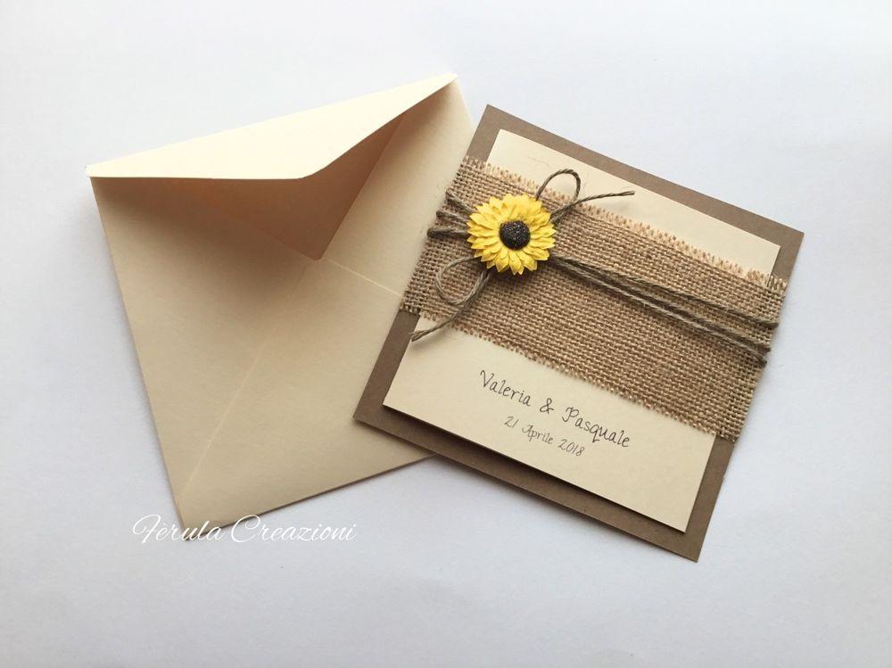Partecipazioni Matrimonio Juta.Partecipazioni Girasole Invito In Juta Partecipazione Rustica