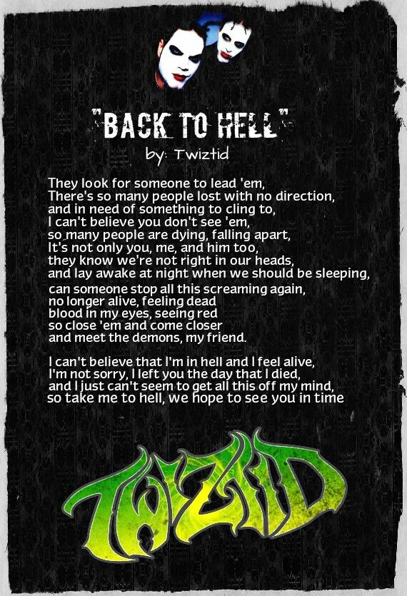 Falling In Reverse Wallpaper Lyrics Back To Hell Twiztid My Creations Song Lyrics