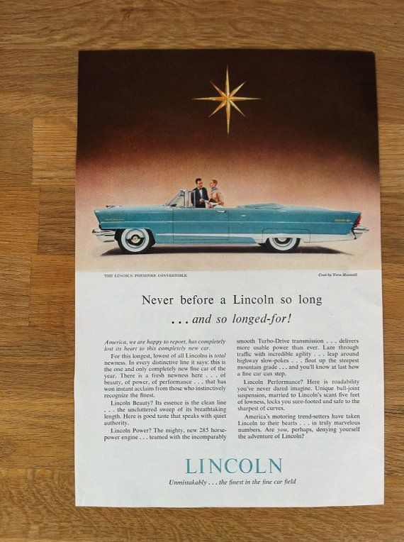 =-=1956 Lincoln Car Magazine Advertisement