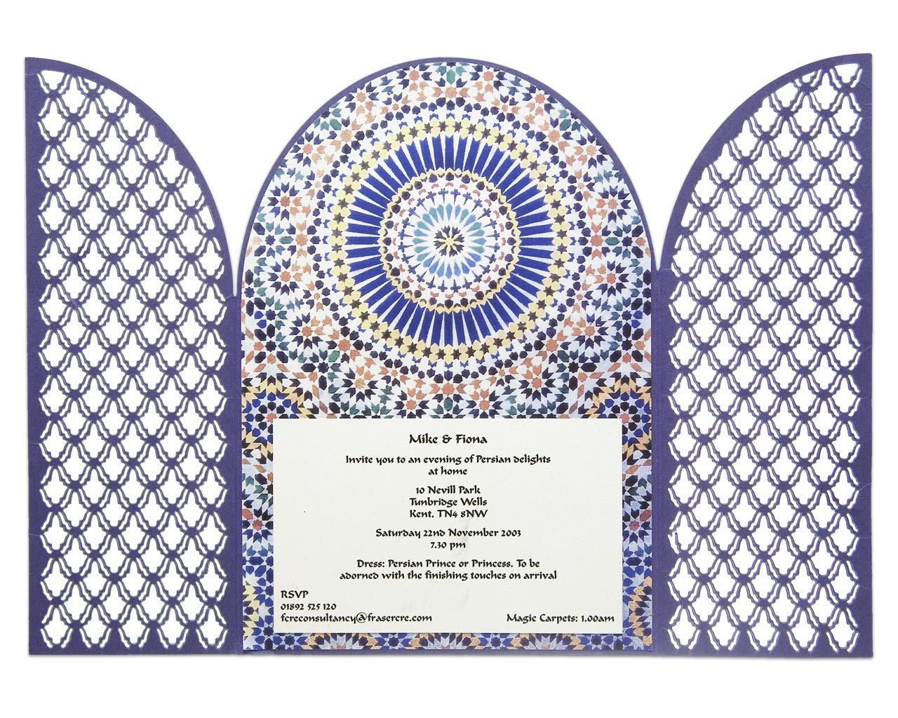 Moroccan Gated Design: Laser cut design with a Moroccan theme. We have also done a Bollywood versions of this in pinks, golds and reds. A striking design that will give a lasting impression for your guests and get them prepared for a great party!