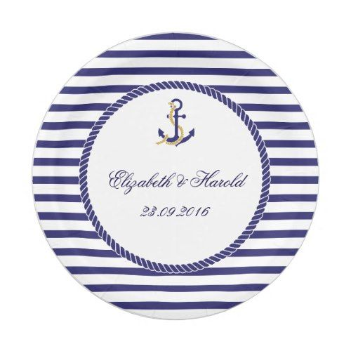 Elegant Nautical Wedding Navy Stripes Paper Plate  sc 1 st  Pinterest & Elegant Nautical Wedding Navy Stripes Paper Plate | Wedding navy ...