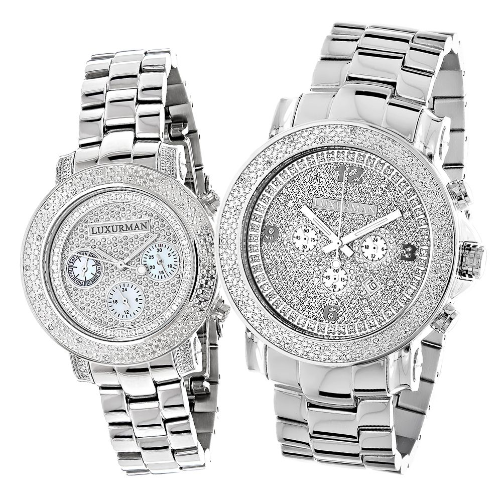 Matching His and Hers Watches: Luxurman Oversized Diamond ...
