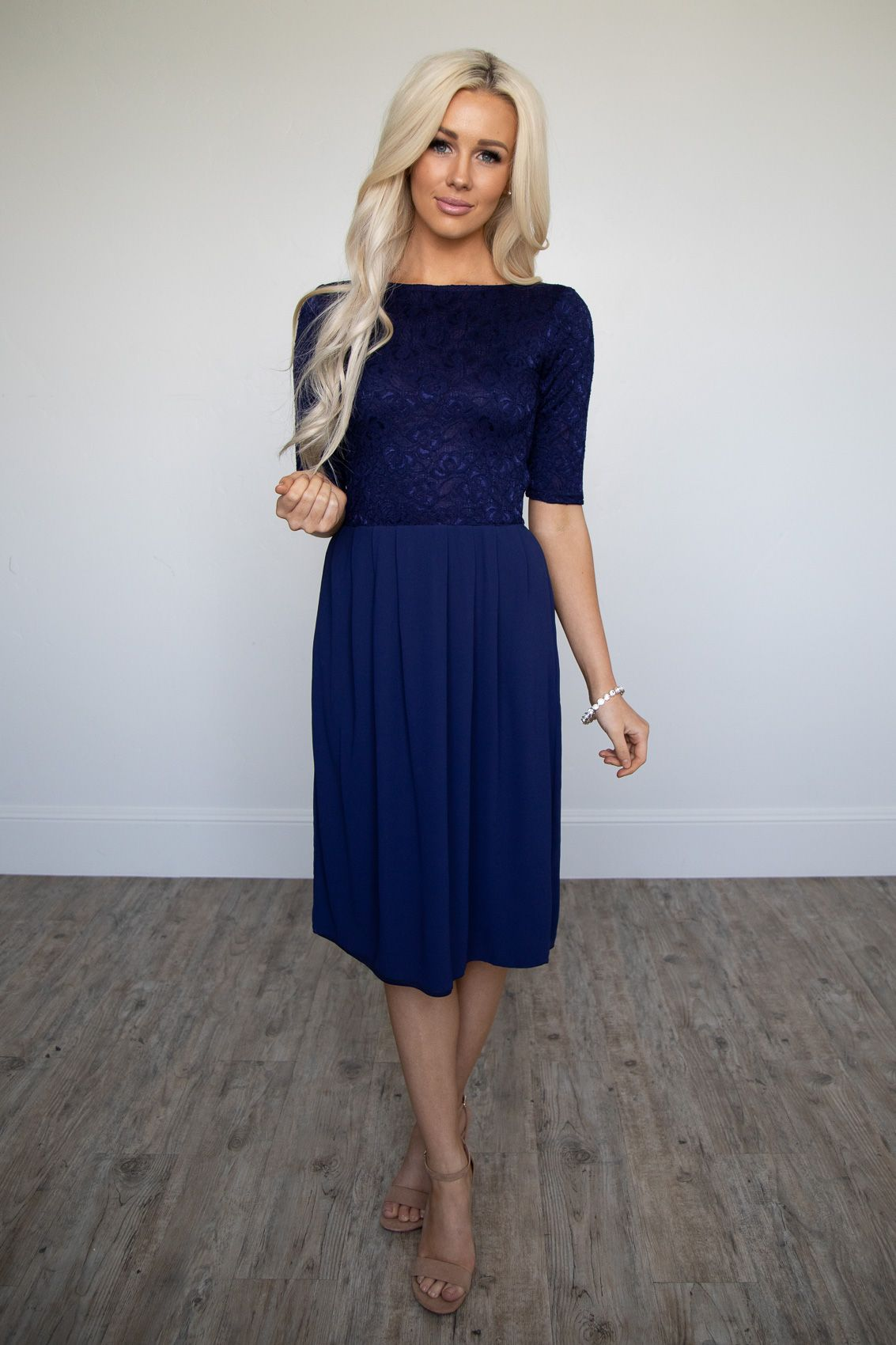 Jada modest dress or bridesmaid dress in navy blue lace