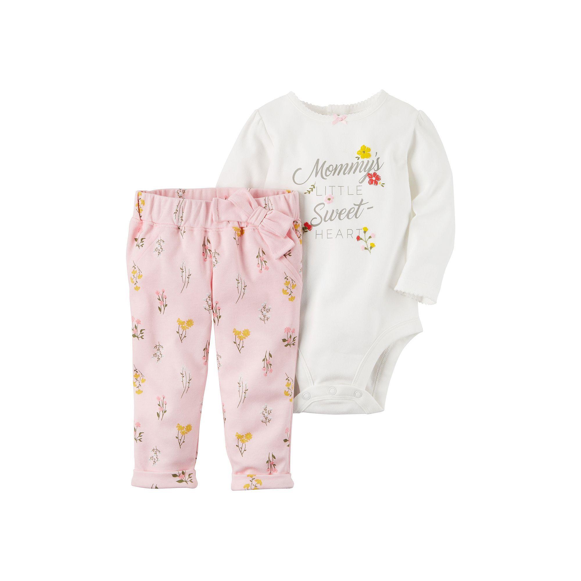 "Baby Girl Carter's ""Mommy's Little Sweet Heart"" Bodysuit & Floral Pants Set, Size: Newborn, White Oth"