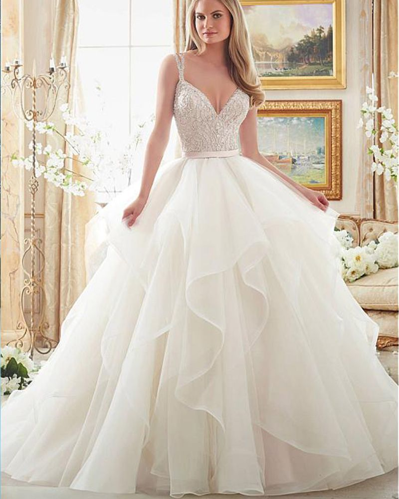 Beaded spaghetti strap wedding dresses  Free Shipping Buy Best Joky Quaon  Sexy Deep V Neck Beaded