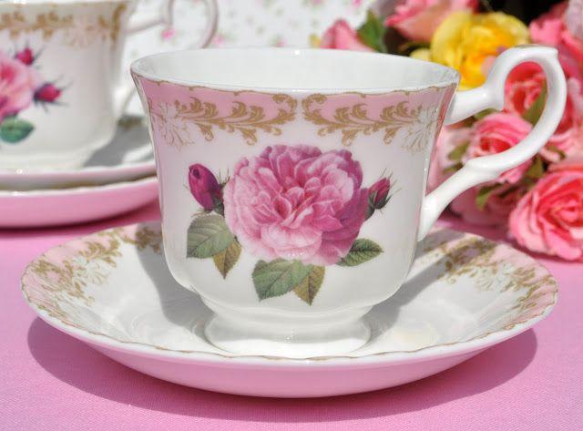 Vintage Rose New Pink Rim Teacup and Saucer