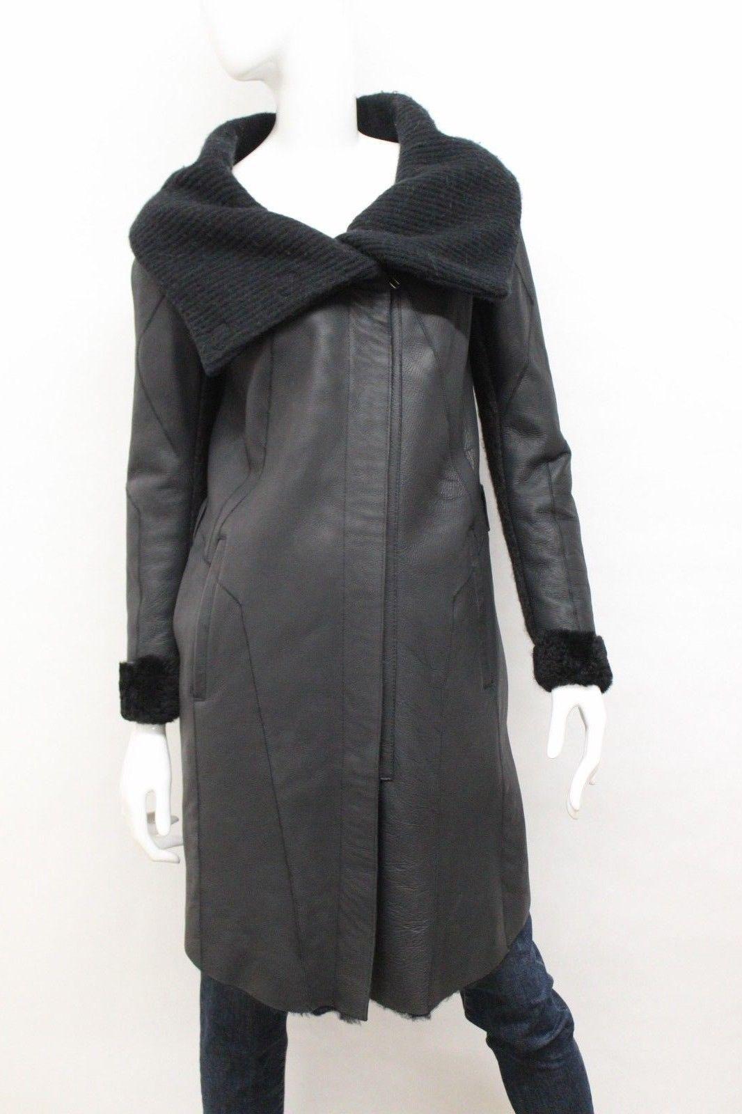 HELMUT LANG Women's Sherpa Lined Faux Leather Coat in