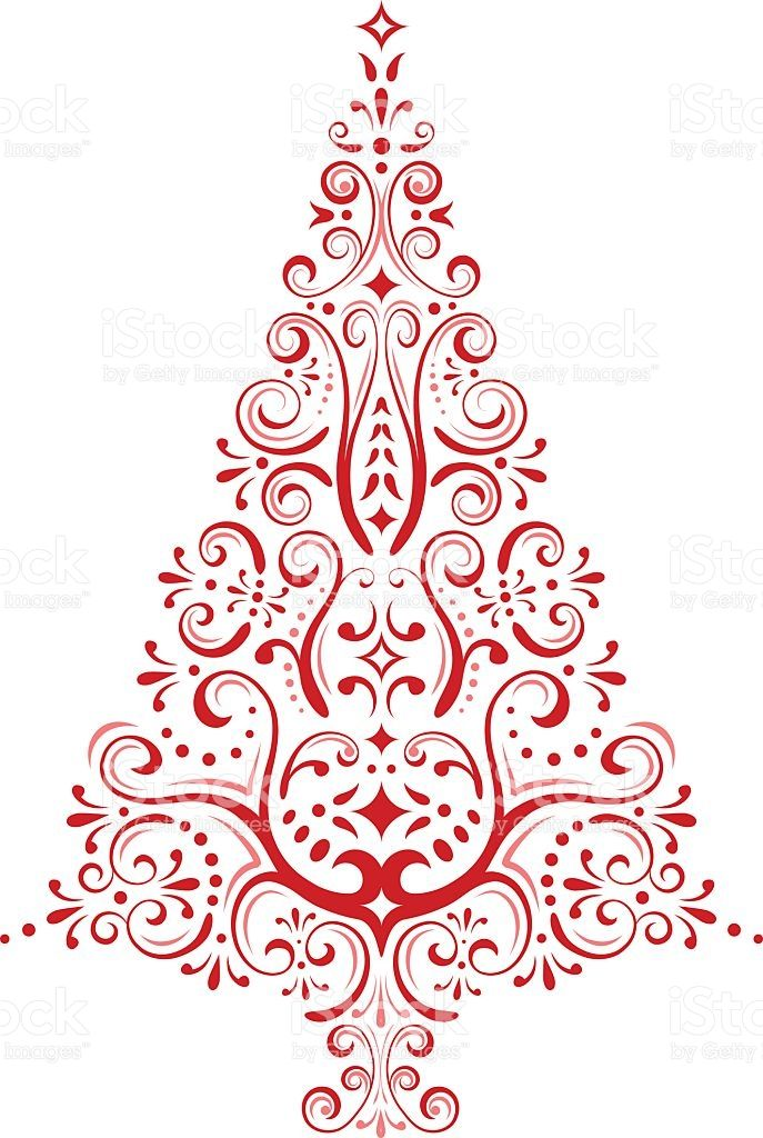Vector Abstract Christmas Tree Illustration In Retro Style Red Christmas Tree Clipart Christmas Drawing Christmas Clipart