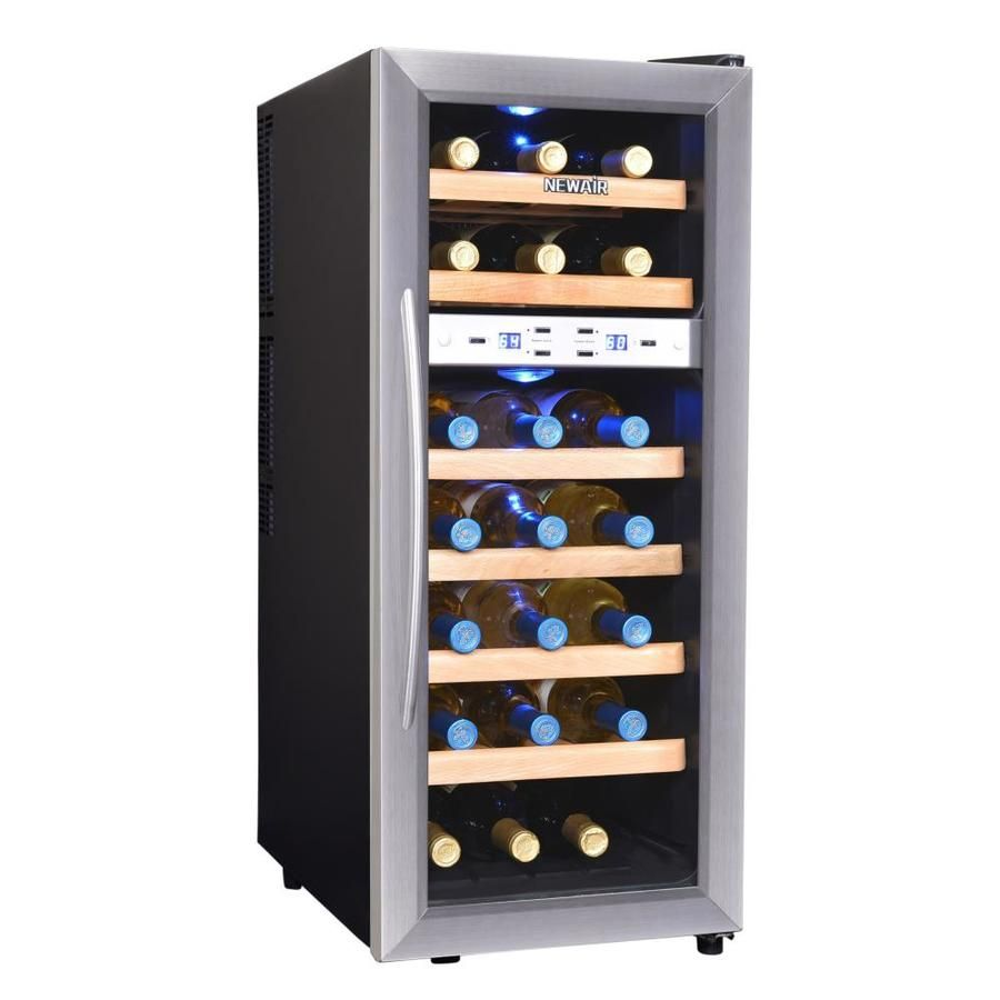 Newair 21 Bottle Capacity Stainless Steel Dual Zone Cooling Freestanding Wine Chiller Lowes Com Thermoelectric Wine Cooler Wine Cooler Dual Zone Wine Cooler Dual zone wine cooler freestanding