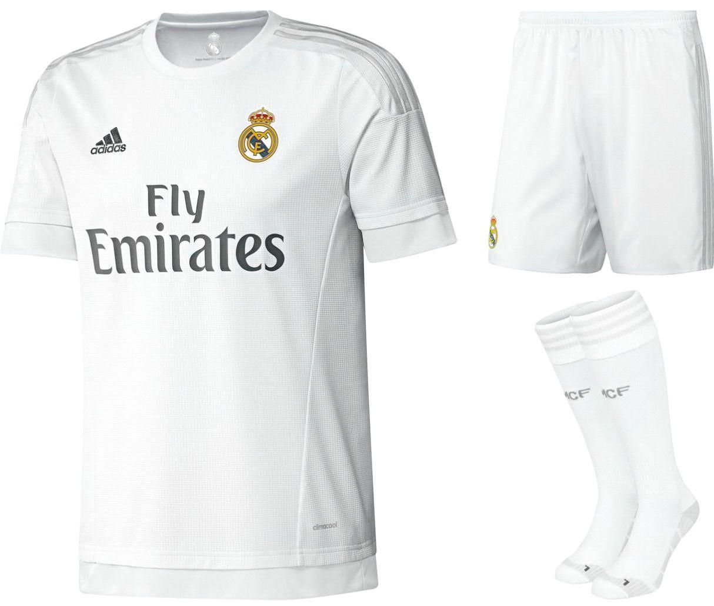 Adidas boys kids real  madrid full  football kit 2015   2016 gift set new 1b6dc8161