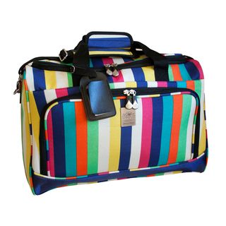 @Overstock - This city duffel from Jenni Chan features a grab-n-go handle and detachable shoulder strap for easy carrying. The duffel bag is made of custom Jenni Chan hardware and is fully lined.http://www.overstock.com/Luggage-Bags/Jenni-Chan-Multi-Stripes-18-inch-Carry-on-City-Duffel-Bag/7604404/product.html?CID=214117 $39.95