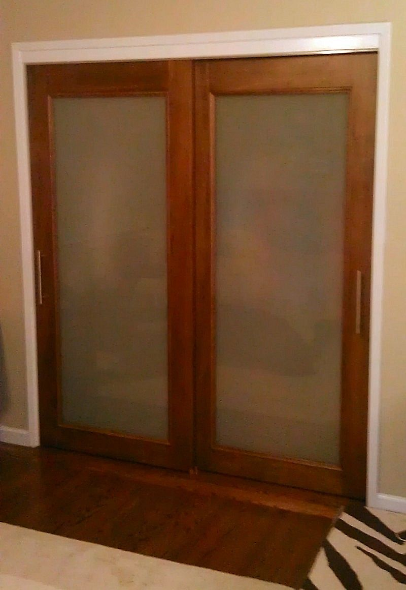 Custom size frosted glass sliding doors sliding closet for Frosted glass sliding doors