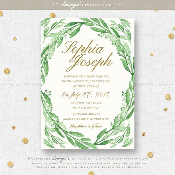 Greenery Wedding Invitation Green Leaves Set Eucalyptus Leaf Garden