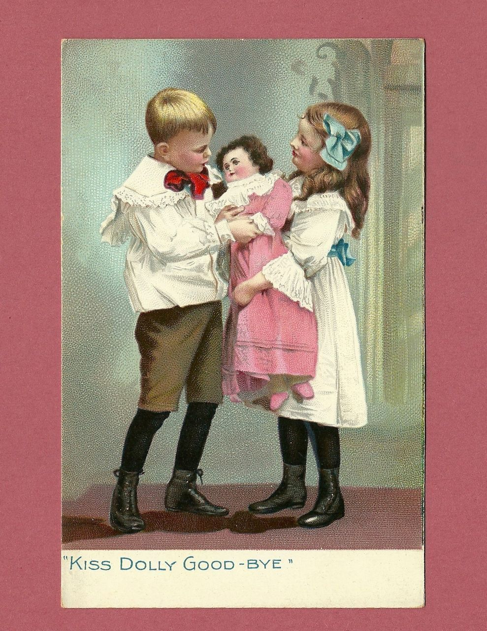 Raphael Tuck Photo Postcard of Boy and Girl with Doll