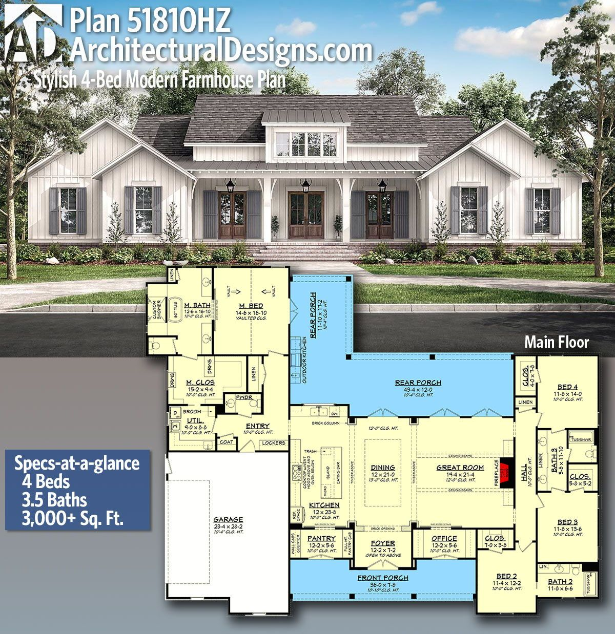 Plan 51810hz Stylish 4 Bed Modern Farmhouse Plan With Vaulted Master Suite Modern Farmhouse Plans House Plans Farmhouse Farmhouse Plans